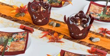 Tischdekoration Orange Bordeaux
