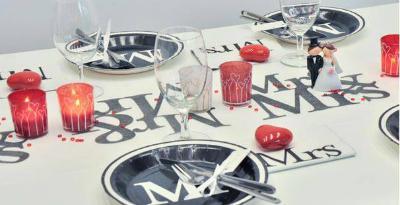 Tischdekoration Mr und Mrs zur Hochzeit