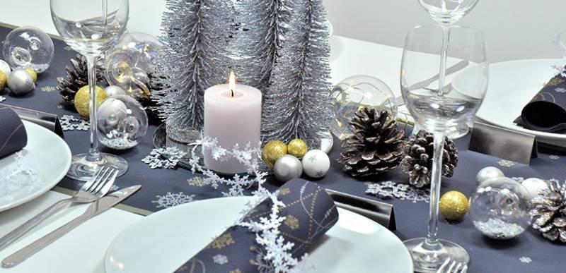 Tischdekoration Snowflakes Black zu Weihnachten