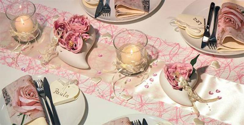 Vintage Tischdekoration Rosa Champagne mit Herz zur Hochzeit