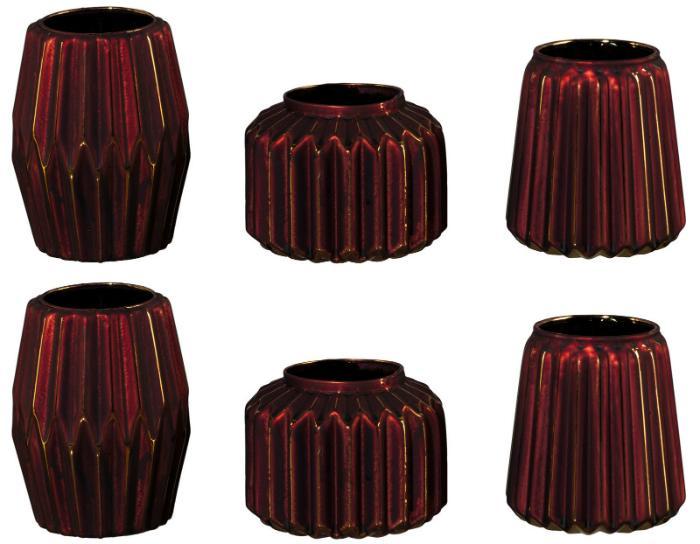 Glas Vasen-Set Stratos Bordeaux Gold 3 moderne Formen 6er Set