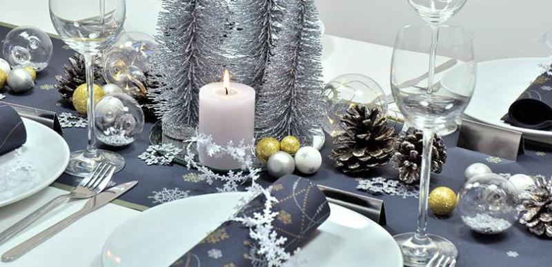 Tischdekoration Snowflakes Black