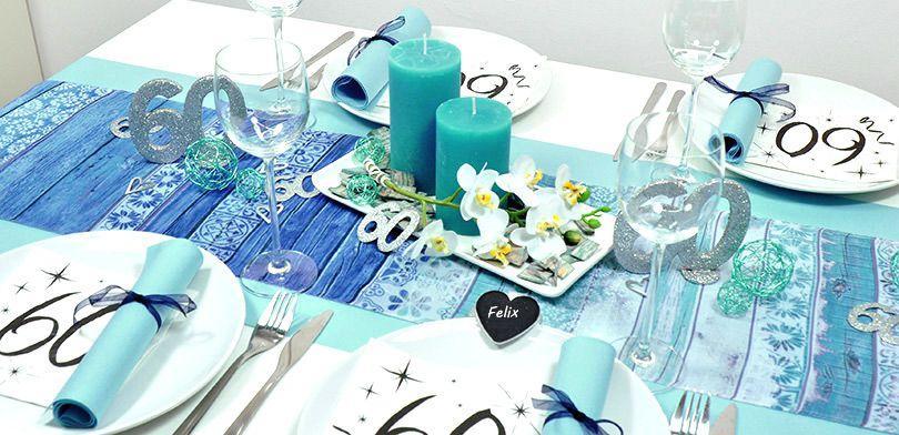 Tischdekoration zum 60. Geburtstag in Vintage Blau