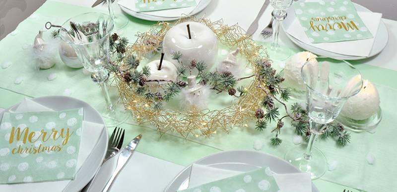 Winterliche Tischdekoration Schneemann