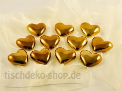 Herzen-Keramik verspiegelt Gold-Bronze 12er Set 7cm