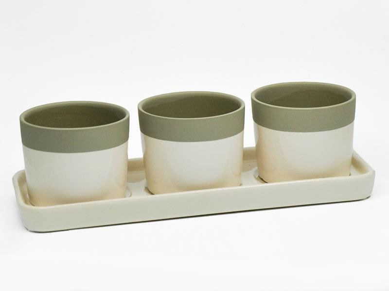 Uebertoepfe auf Tablett Creme Taupe Keramik