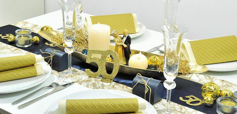 Tischdeko fuer die goldene Hochzeit Hochzeitsarten