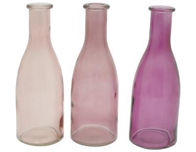 glas-vase-flasche-rosa-fuchsia-3er-set-18cm