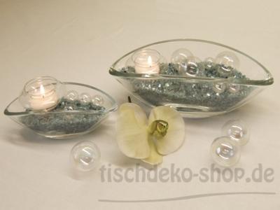 Glas-Schiffchen als Schale Vase Windlicht