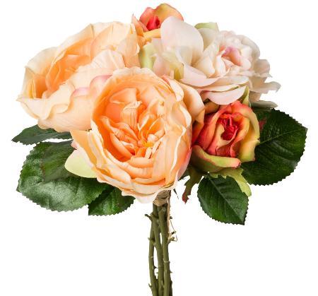 Rosenstrauß 5 Blüten Apricot 30cm