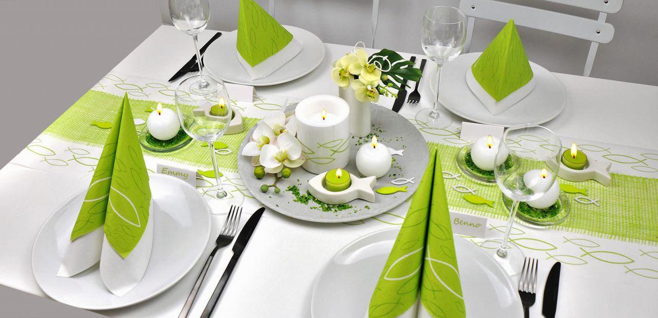 Tischdekoration zu Kommunion und Konfirmation in Grün und Weiß mit Fischen