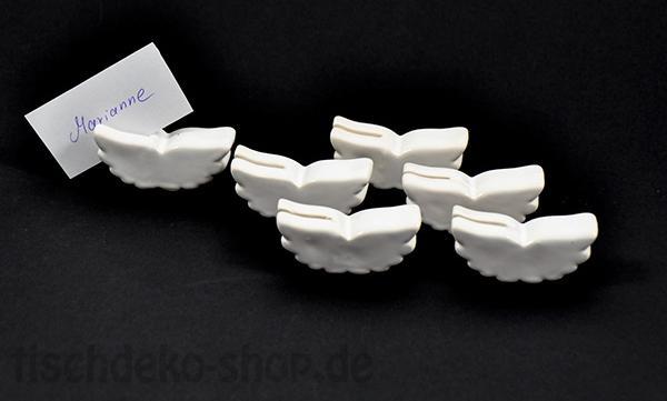 Deko Kartenhalter Flügel Weiß glänzend 6er Set Weihnachten