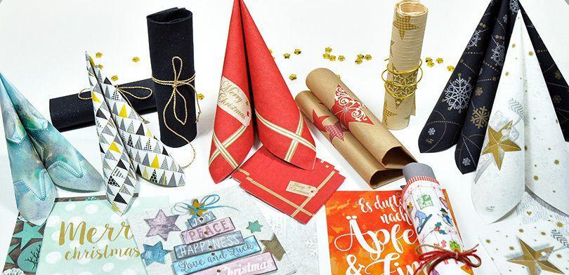 Weihnachtliche / Winterliche Servietten - Tipps für die Buffet Deko