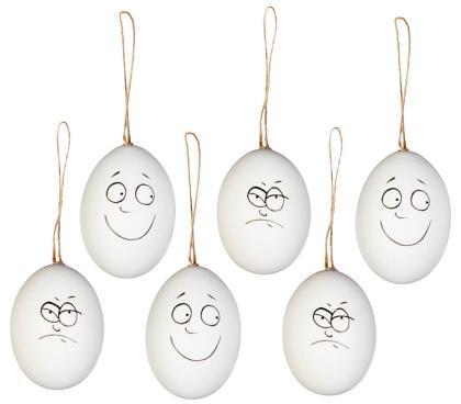 Natur Eier Hänger Funny Faces 6er-Set 6cm