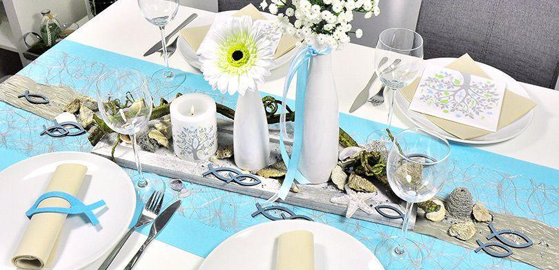 Tischdekoration Hellblau Pearl mit Fischen zur Taufe