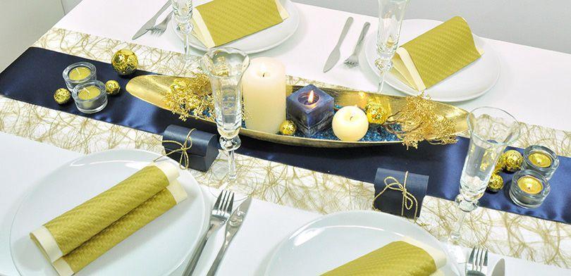 Sehr elegante Tischdekoration in Gold und Blau für verschiedenste Anlässe