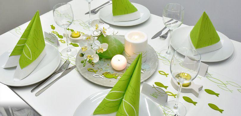 Tischdekoration mit Fischen in Grün und Weiß Kommunion und Konfirmation