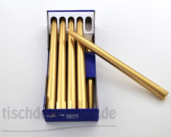 Premium-Spitzkerzen Gold 26cm 10er Pack