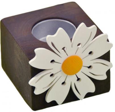 Teelichthalter Holz braun lasiert mit weißer Margeriten-Blüte 7,5 cm