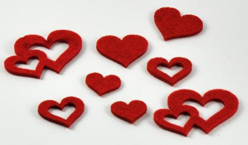 Filz Herzen Rot 4 Größen sortiert