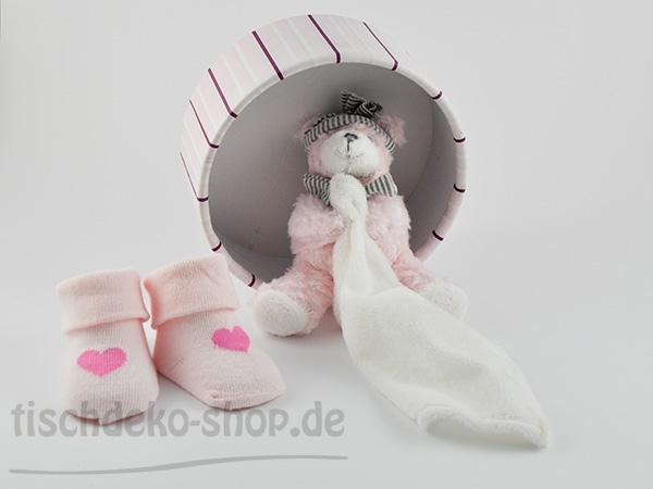 Geschenkbox Teddy und Baby Söckchen Rosa