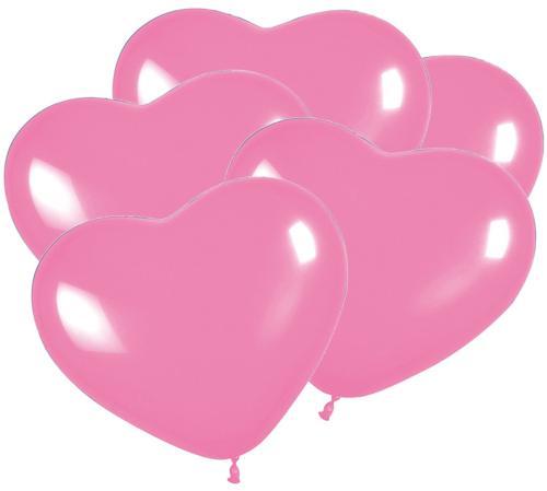Luftballon Herz Rosa D 30cm 5 Stück