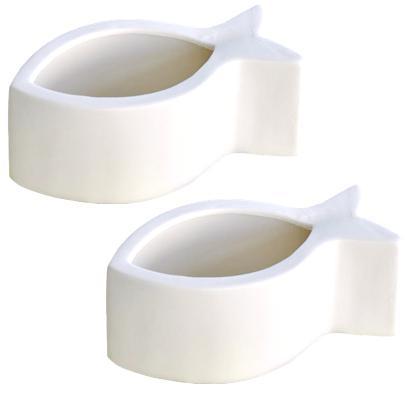 Pflanztopf Schale Fisch Porzellan Weiß glänzend 15cm 2er Set