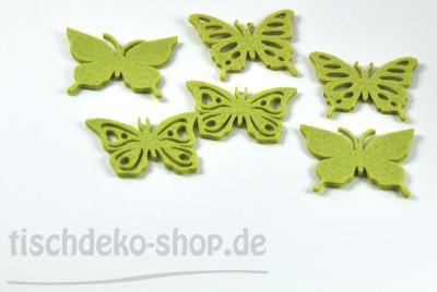 Schmetterlinge Filz Streu Grün Ø 6,5cm sort.