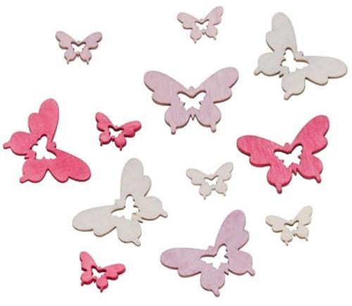 Streudeko Schmetterling Rosa 2-4cm 18 Stück