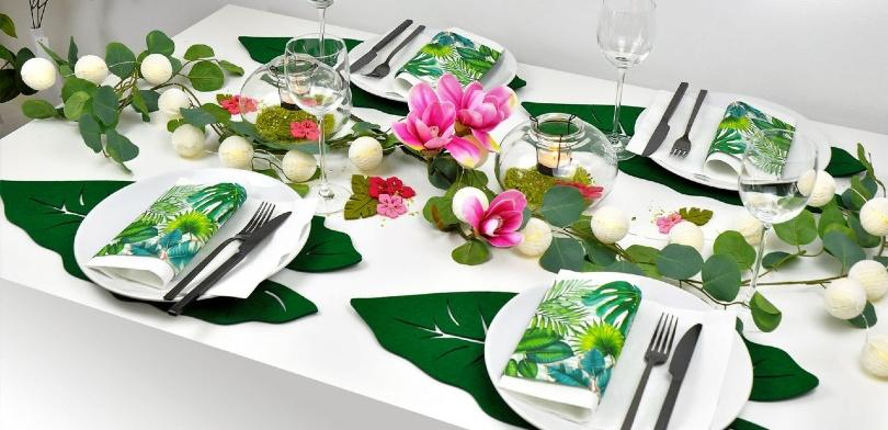 Sommerliche Tischdeko Dschungel
