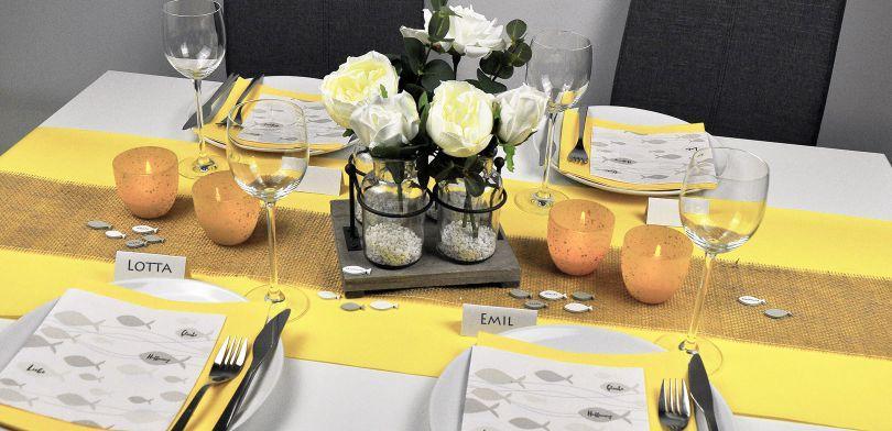 Feierliche Tischdeko für Konfirmation und Kommunion in Taupe und Gelb