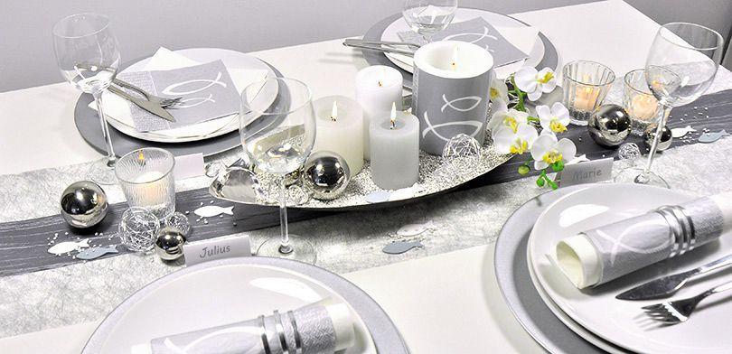 Feierliche Tischdeko für Konfirmation und Kommunion in Silber mit Fisch