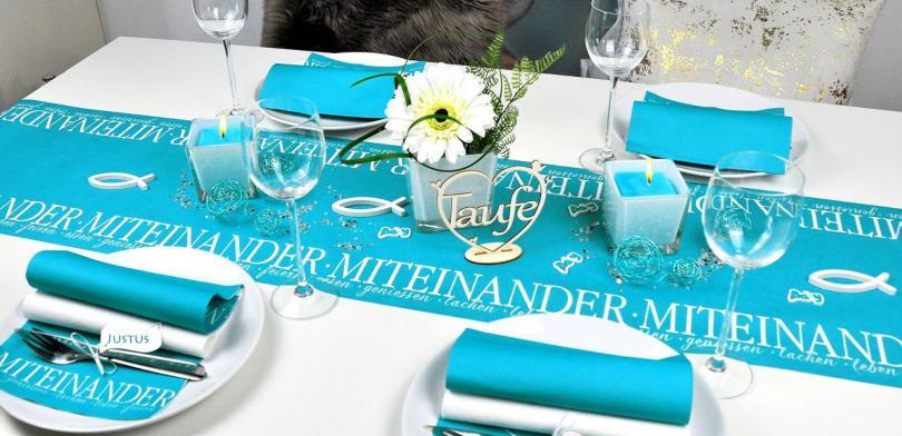 Tischdekoration Miteinander in Türkis zur Taufe - Taufdeko für den festlichen Tisch