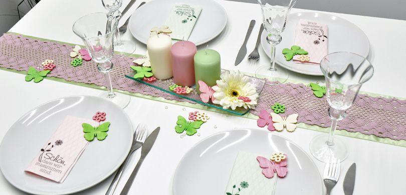 Tischdekoration in Rosa und Grün - Stimmige Ostertischdeko