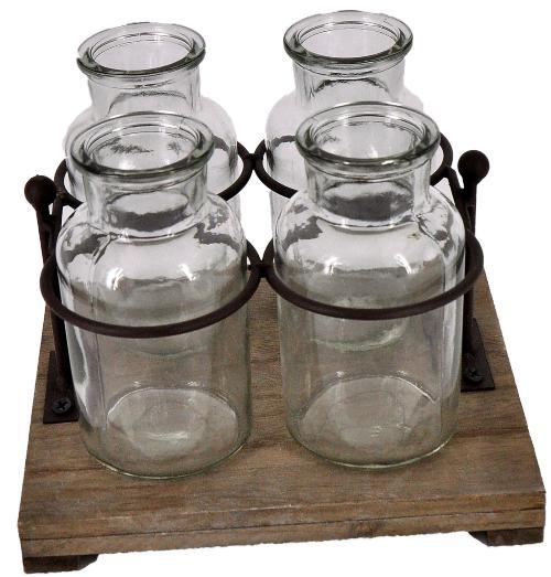 4 Flaschenvasen auf Tablett mit Metallhalterung 19 x17cm - Tischdeko online kaufen