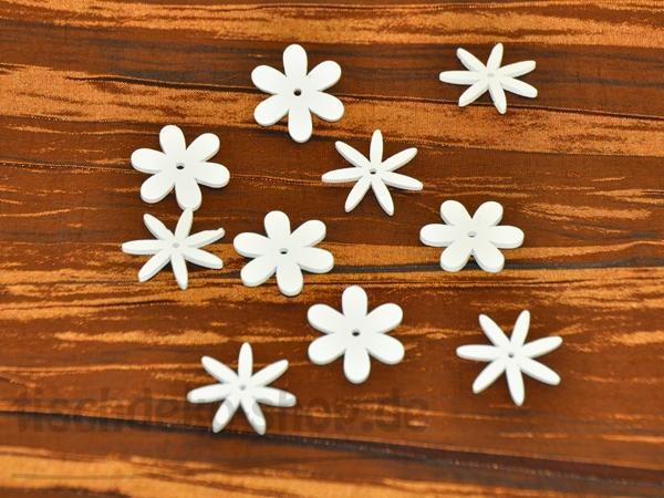 Blüten Weiß Holz Ø 2cm 10 Stück