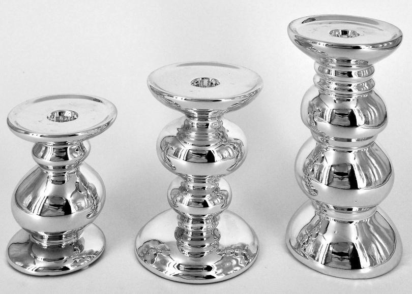 Kerzenleuchter Silber glänzend Keramik 3 Größen