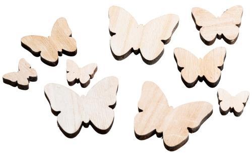 Streudeko Schmetterling Holz Natur 3-7cm - Tischdeko im Landhausstil