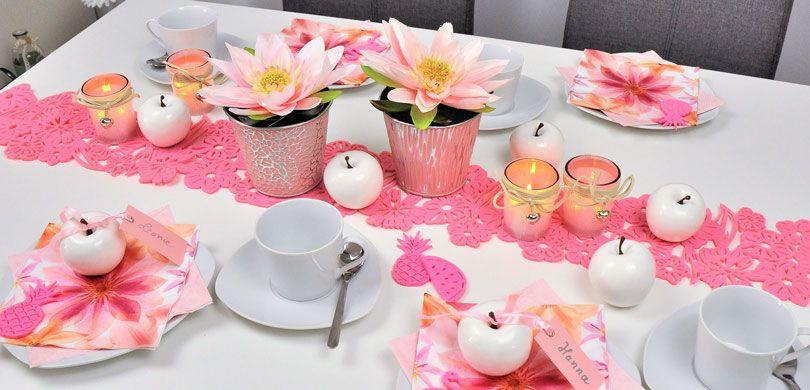 Tischdekoration Seerosensommer in Rosa / Pink