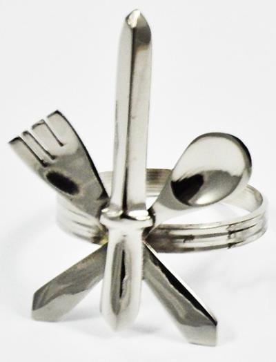 Serviettenring Messer Gabel Löffel 4er Set Silber