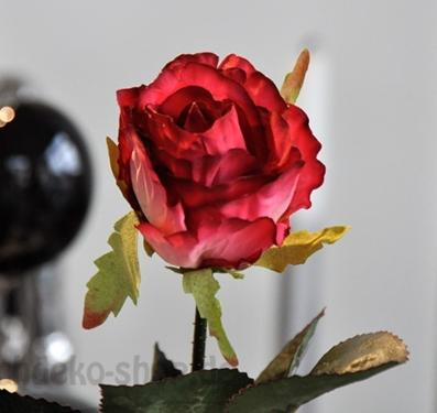 Deko-Rose Rot-Gelb 42cm täuschend echt
