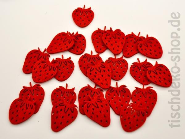 Filz-Sortiment Erdbeeren rot 24 Stück 4x5cm