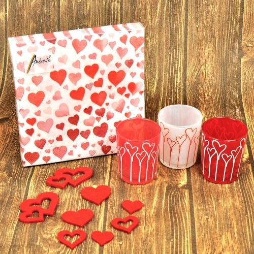 Geschenkset von Herzen Teelichtgläser Servietten Filz-Deko
