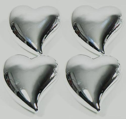 Keramik-Herzen Silber glänzend 7,5cm 4er-Set