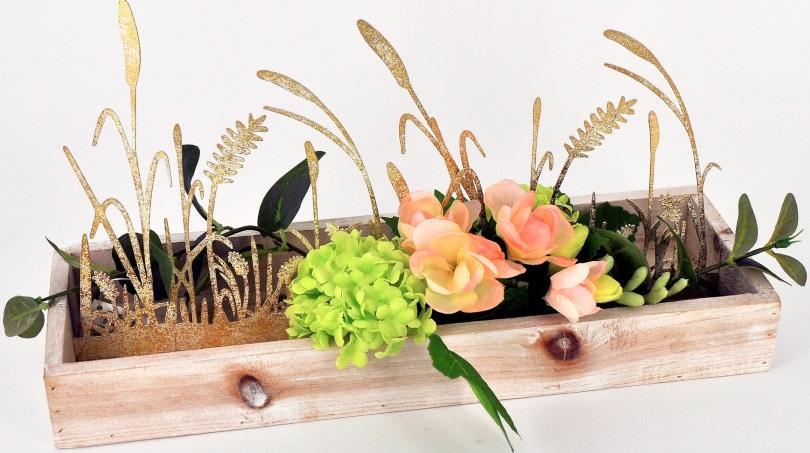 Exclusives Dekotablett mit Seidenblumen 36x12cm Geschenke zum Muttertag