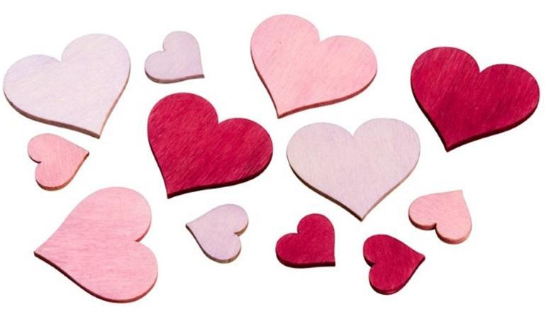 Streudeko Herz Holz Rosa18 Stück 2-4cm
