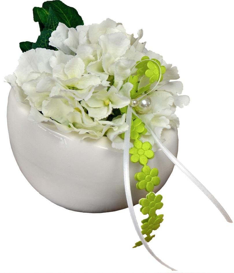 Ovale Porzellanschale mit Hortensienblüte Weiß in Geschenkfolie Geschenke zum Muttertag