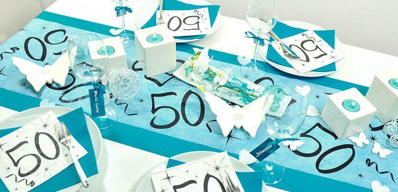 Tischdekoration zum 50. Geburtstag in Azur - BBQ-Deko