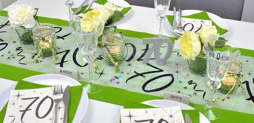 Tischdekoration zum 70. Geburtstag in Grün
