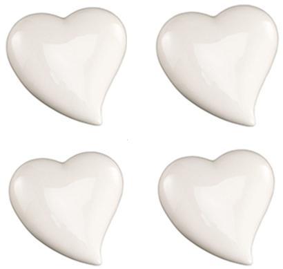 Herz 7cm Weiß glänzend Keramik 4er Pack